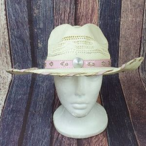 Soto Hats Cowgirl Wester Cream Pink Hat Size L